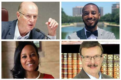 Harris County Department of Education Trustee Don Sumners (top left), a Republican, faces Democrat David Brown (top right) in the November election. Democrat Erica Davis (bottom left) faces Republican Bob Wolfe (bottom right). Both races are for at-large seats.