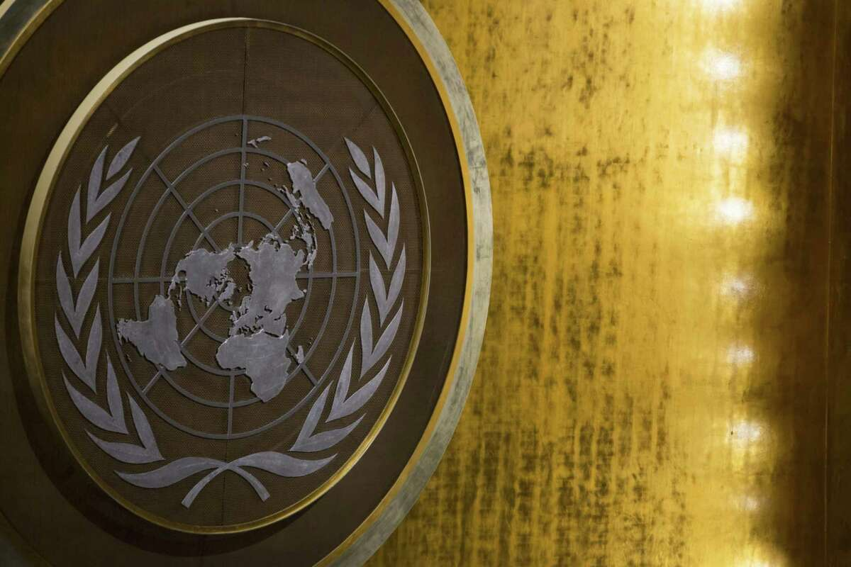 The emblem of the United Nations is seen during the UN General Assembly meeting in New York on Sept. 20, 2017.