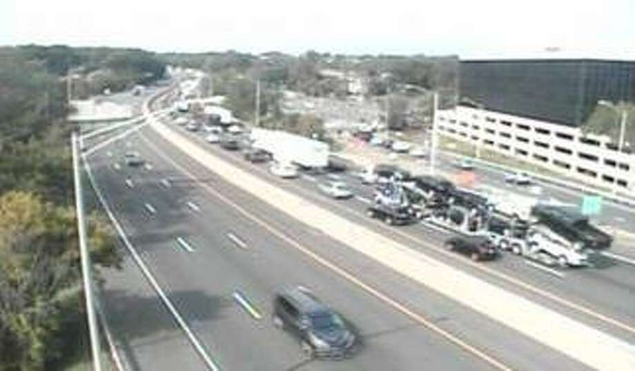 Traffic was running slowly on I-95 in Greenwich Friday. Photo: CT DOT