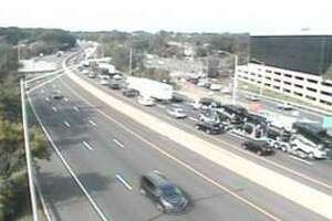 Traffic was running slowly on I-95 in Greenwich Friday.