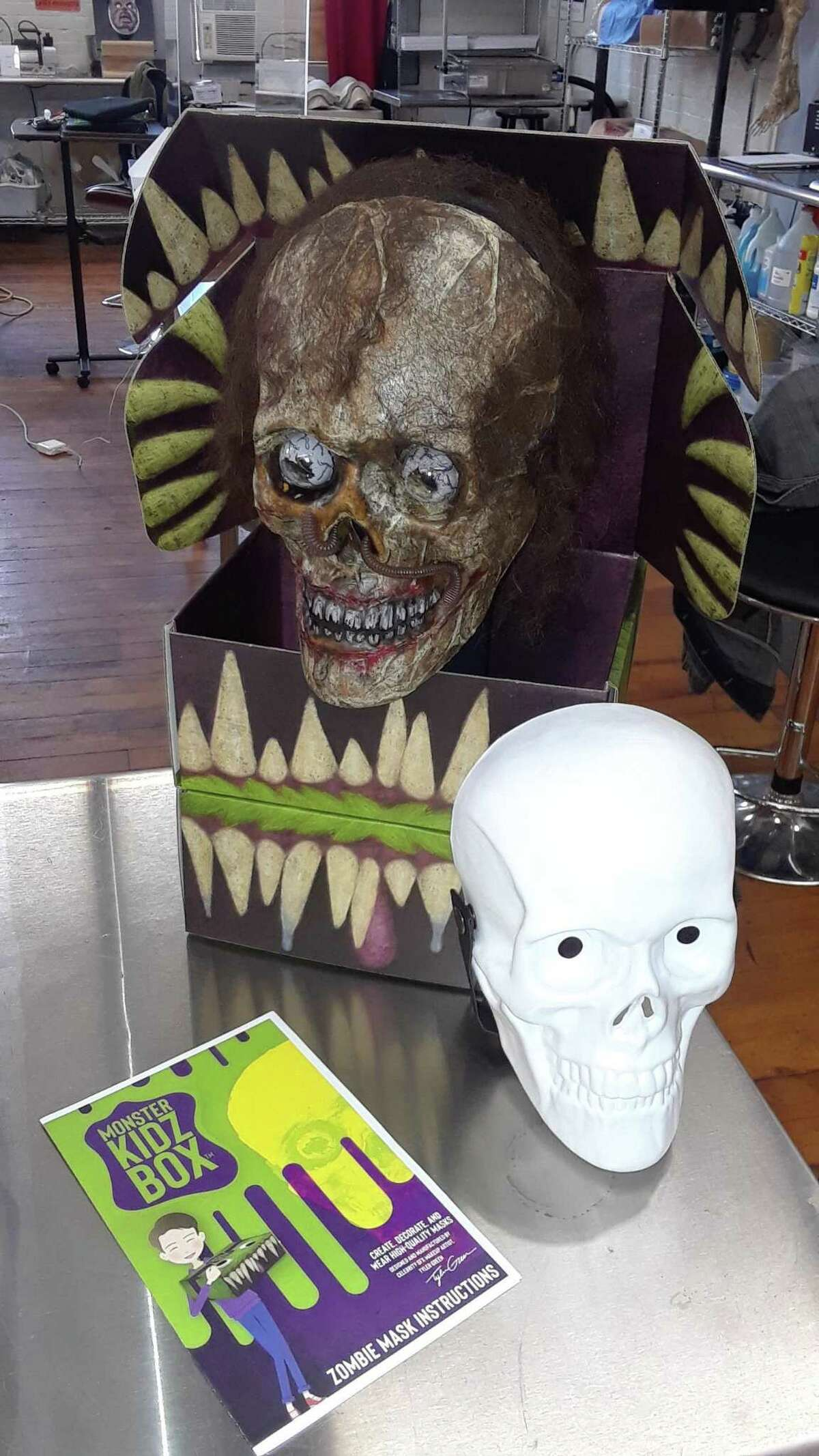 Tyler Green, a special effects artist whose studio is located at Whiting Mills in Winsted, has created a Kidz Box with everything a child needs to make their own custom mask. As Halloween approaches and parents seek fun alternatives to trick or treating and large gatherings, the Kidz Box is selling very well, Green said.