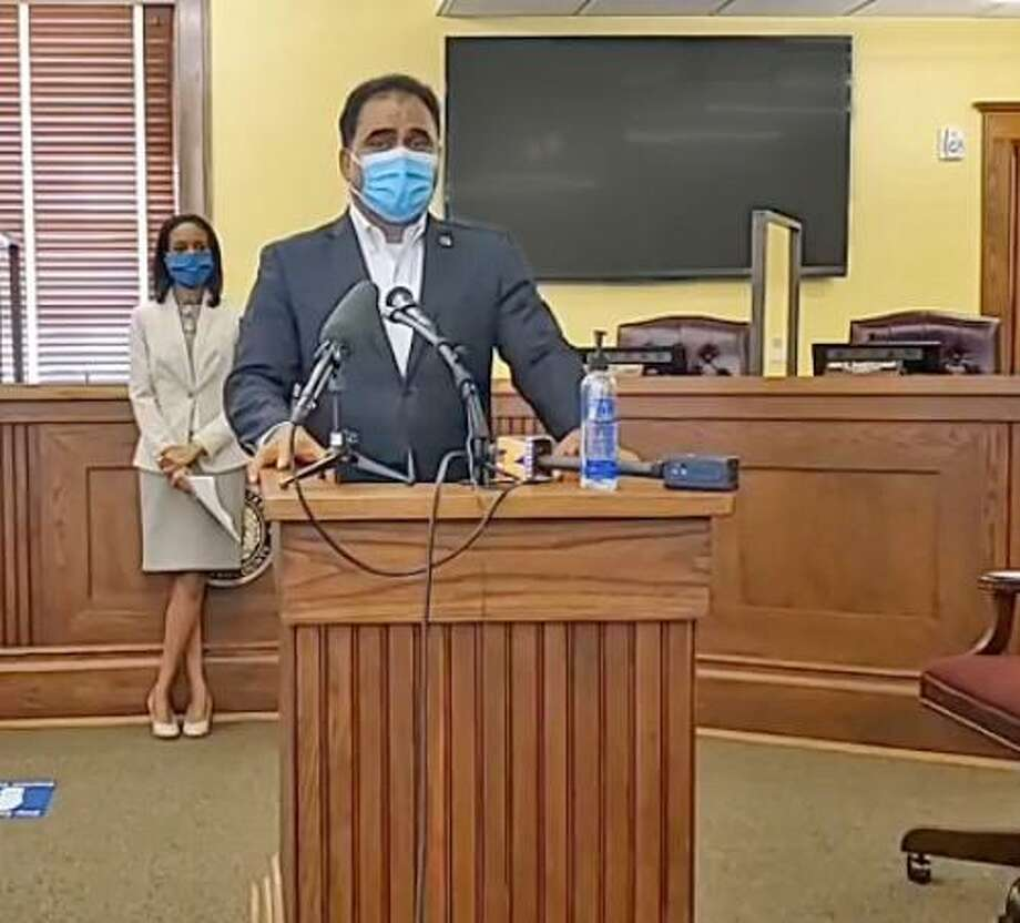 Fort Bend County Judge KP George speaks at a press conference in Richmond on Aug. 6. George delivered hisd State of the County address on Wednesday, Sept. 16, with a big focus on the COVID-19 pandemic. Photo: Submitted