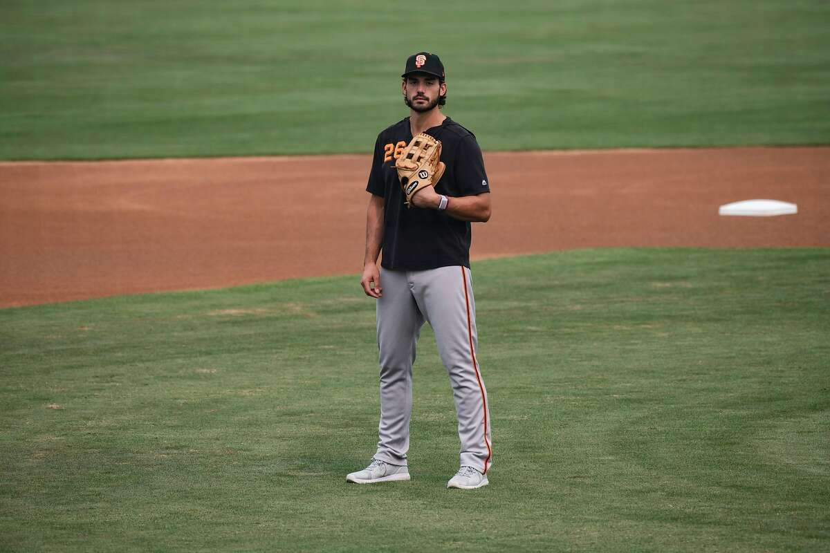 Chris Shaw poses for a portrait before practice at Sutter Health Park on Friday, September 11, 2020 in Sacramento, Calif. Giants OF Chris Shaw, is now working out at the Giants' alternate camp in Sacramento.