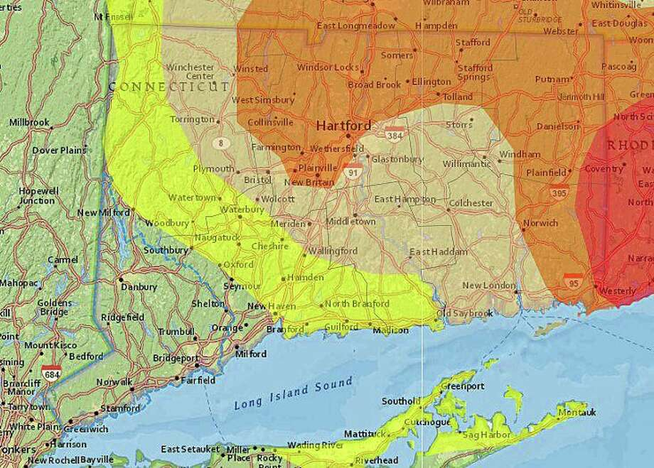 Fairfield County is the only county in Connecticut that does not have drought or abnormaly dry conditions. The yellow area is abnormally dry, the tan area has a moderate drought, the brown area has a severe drought and the red area has an extreme drought. Photo: U.S. Drought Monitor