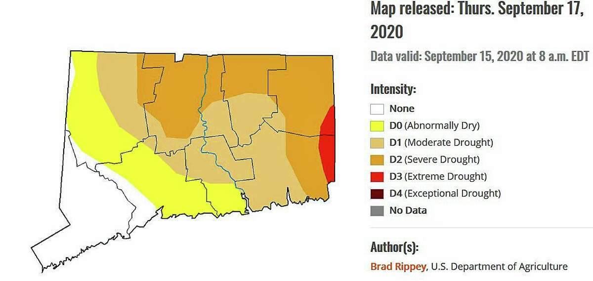 This image shows the severity of Connecticut's drought as of Sept. 15, 2020.