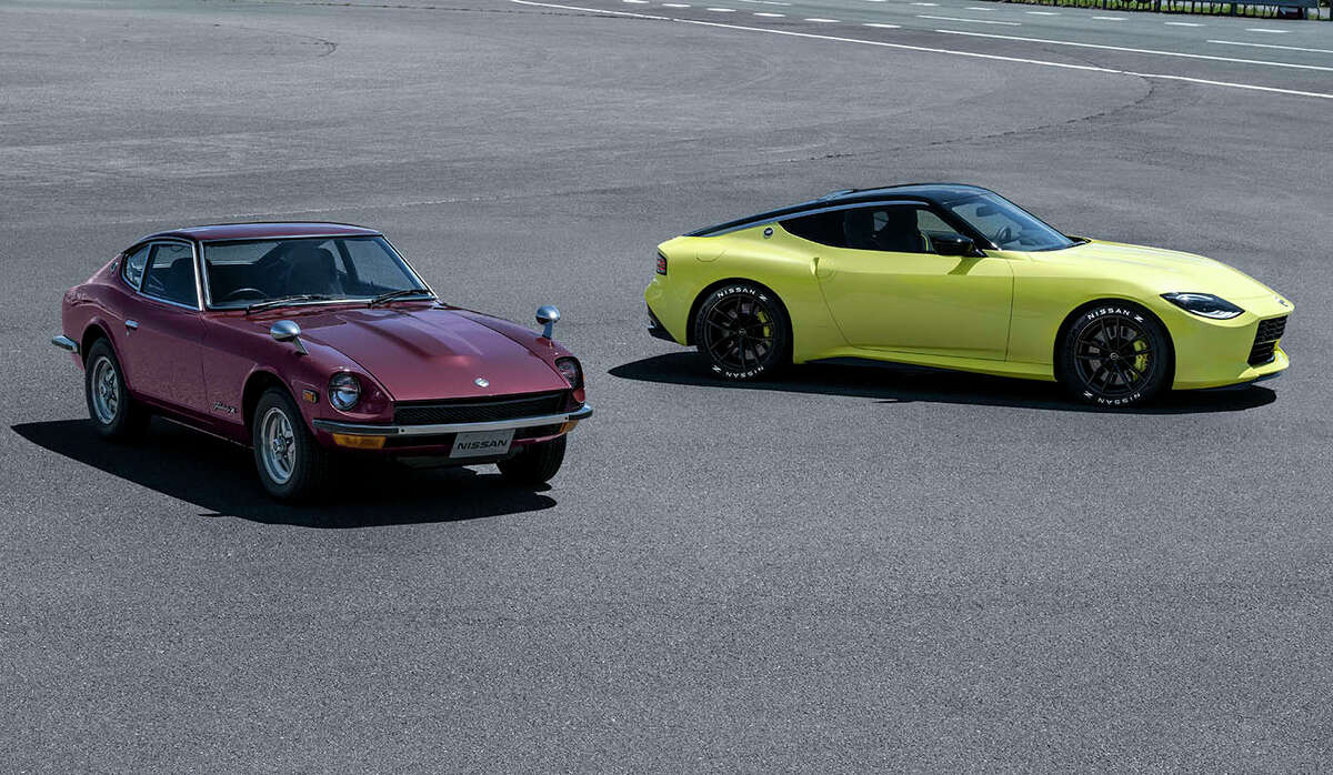 The Z Proto concept (right) shows the direction Nissan is taking with the next generation of its sports car. At left is the original 240Z that made a huge impact in the sports car market.
