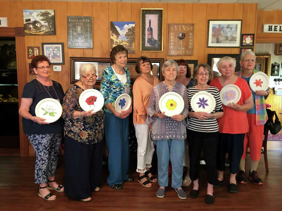 Pictured left to right are Woody Hearn, Becky Judah, Jean Heasley, Mary Lou Satore, Jo Chesney, Marilyn Sommers, Janet Emmons, Cheryl Jett, Paula Schoppe at the Installation of officers of the Pan American Round Table Conroe. Photo: Courtesy Photo