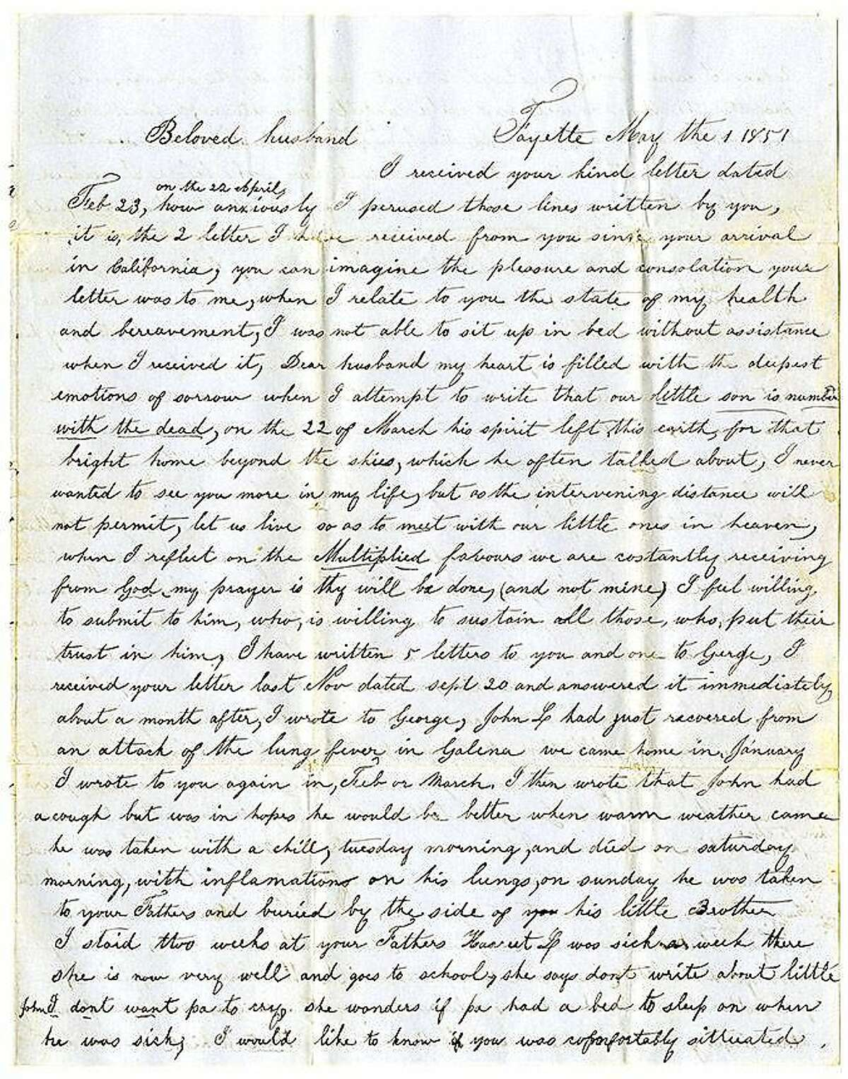Mary Monroe, handwritten letter to William Monroe, May 1, 1851.