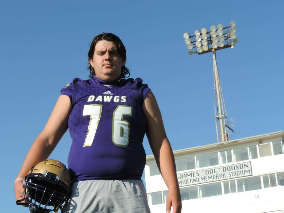 Midland High senior offensive tackle Brett Canis pictured at Memorial Stadium.