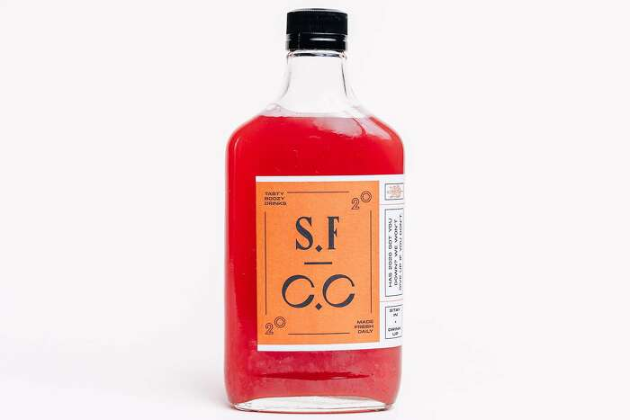 A drink from San Francisco Cocktail Club, a new service that delivers pre-made cocktails from local restaurants to people's homes.