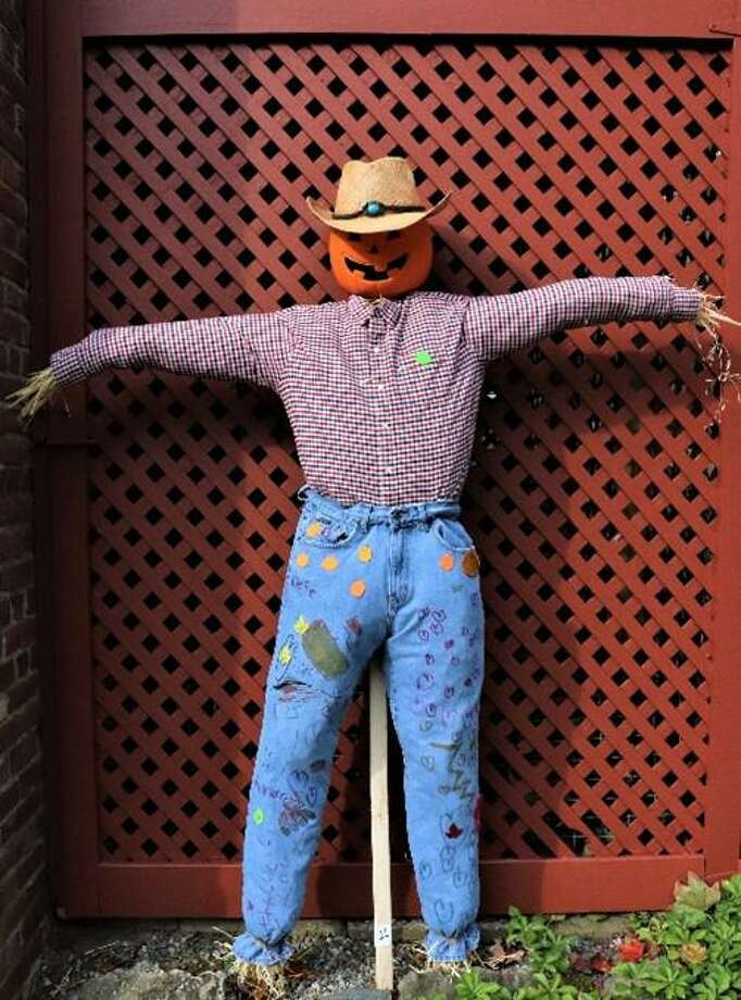 Mr. Pumpkin Head won the 2019 People's Choice vote on Facebook in Keeler Tavern Museum & History Center's 7th annual Scarecrow Contest. Photo: Keeler Tavern Museum & History Center