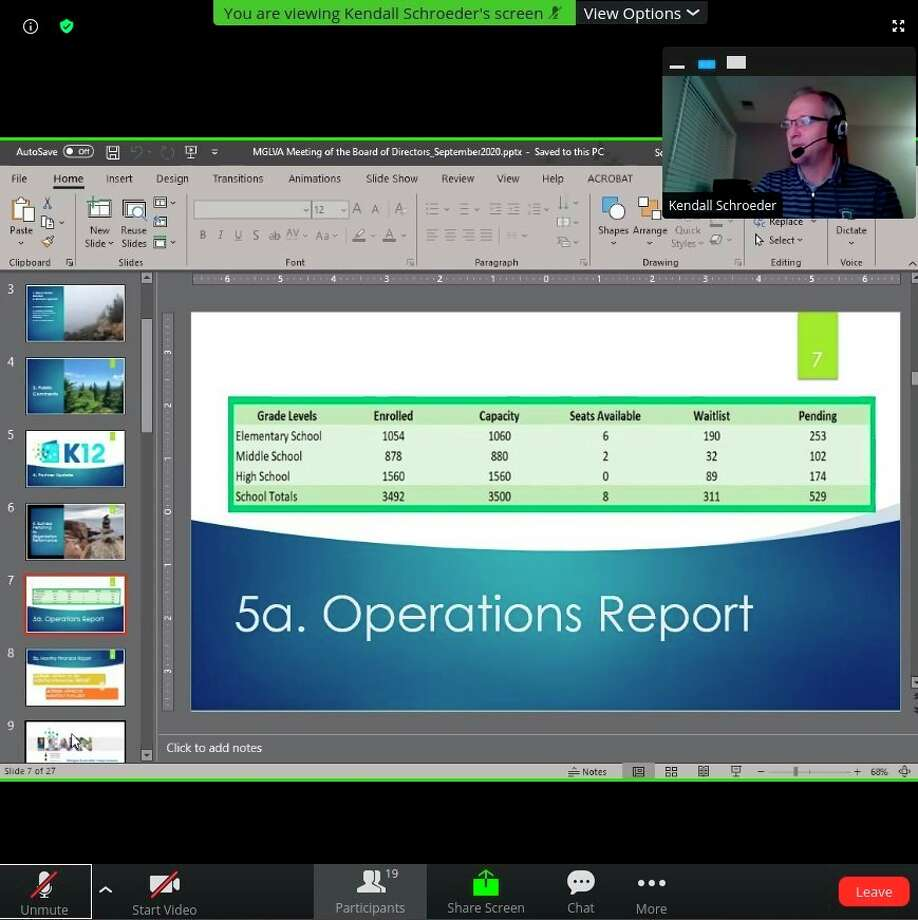 KendallSchroeder, Michigan Great Lakes Virtual Academy Head of School, goes over enrollment numbers during a virtual board of directors meeting on Thursday. (Screenshot/Zoom)