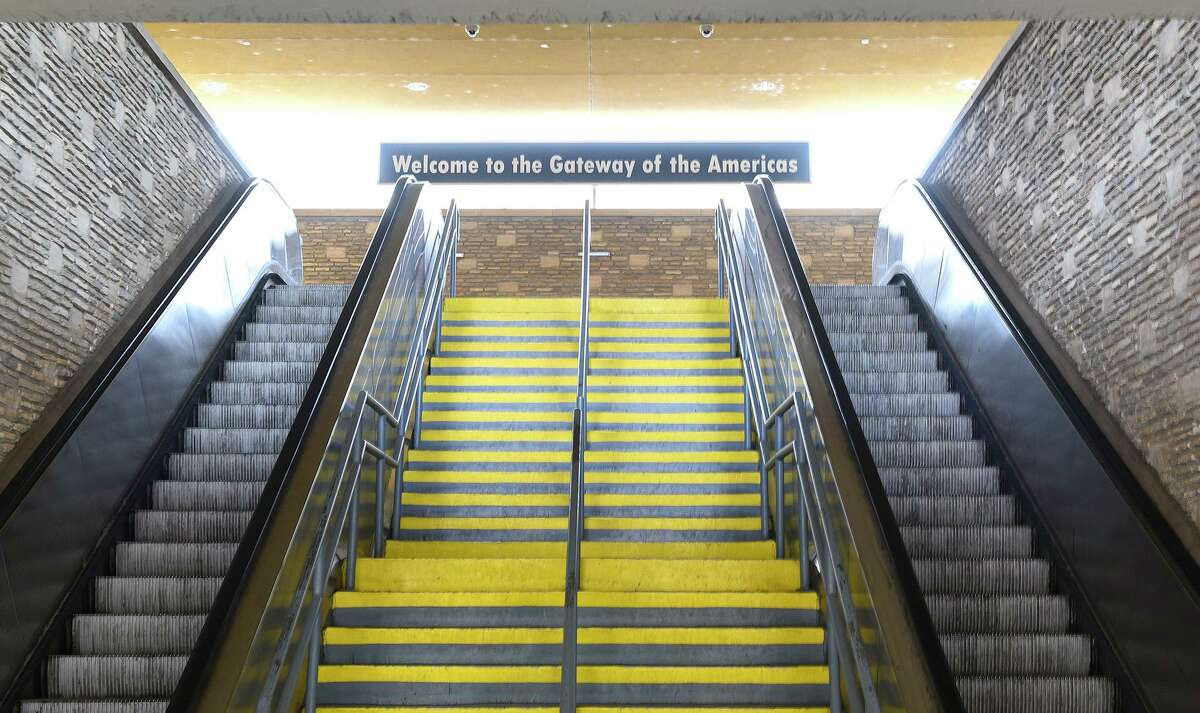 A view of an empty stairs for pedestrians crossing the Gateway to the Americas International Bridge.