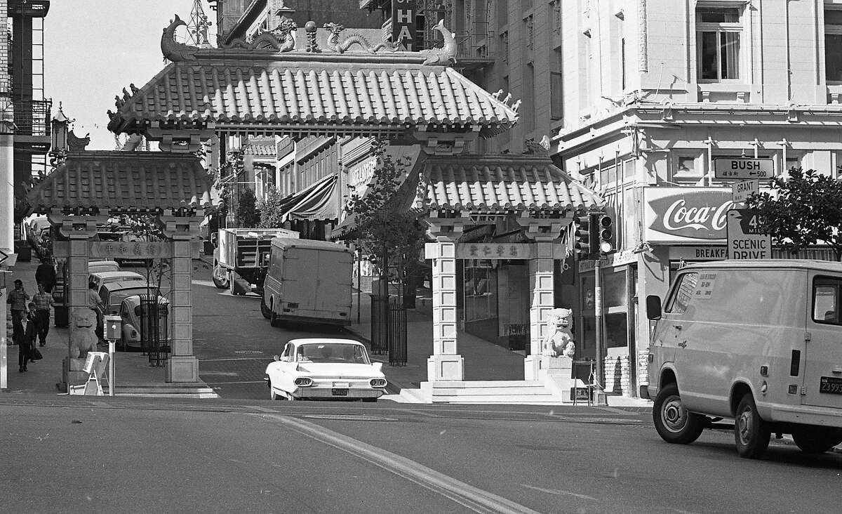 The new Dragon Gate on Grant Avenue and Bush Street is the symbolic entrance to Chinatown. Completed in May 1970, it is seen here Jan. 11, 1971.