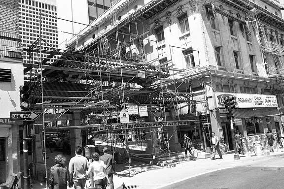 The new gate at Grant and Bush under construction. The Arch will be a symbolic entrance to Chinatown, June 25, 1969