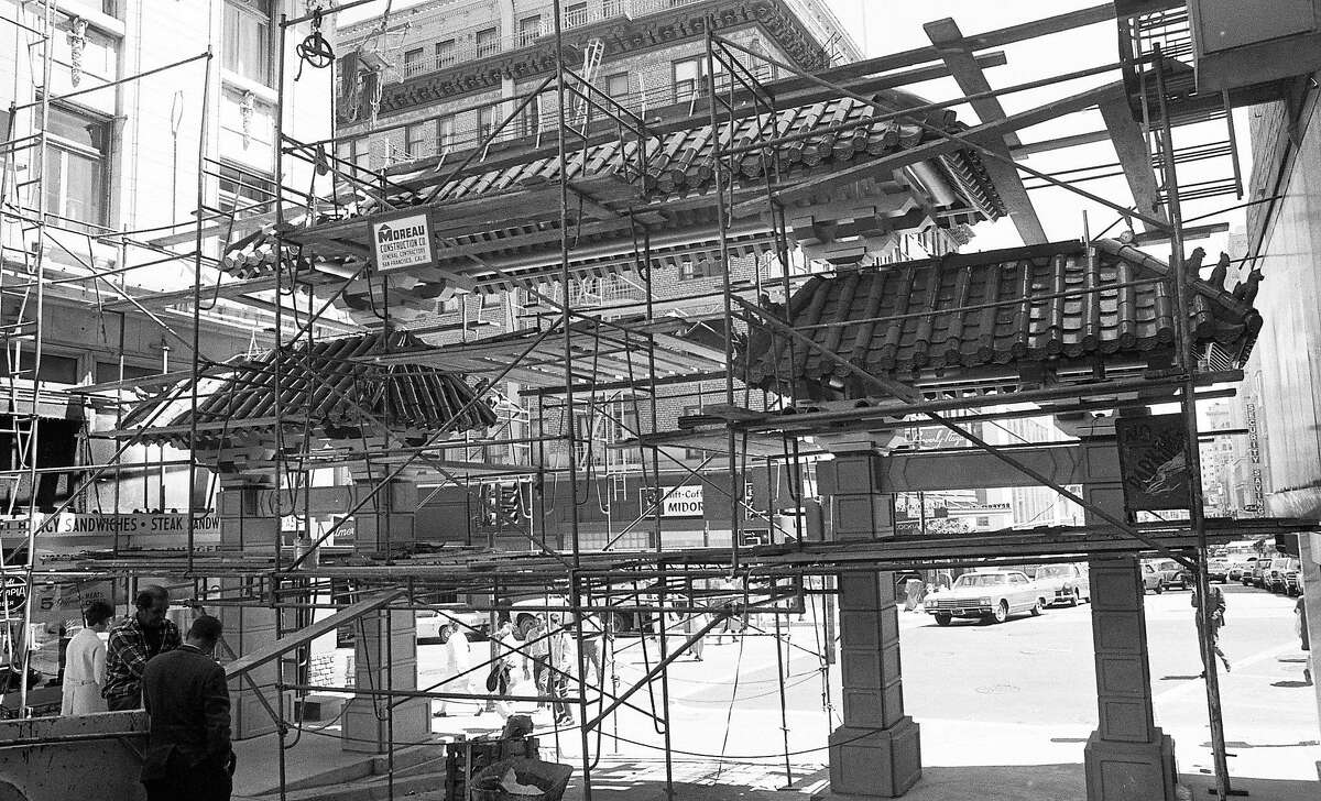 The newly approved arched gateway to Chinatown at Grant Avenue and Bush Street is under construction on June 25, 1969.