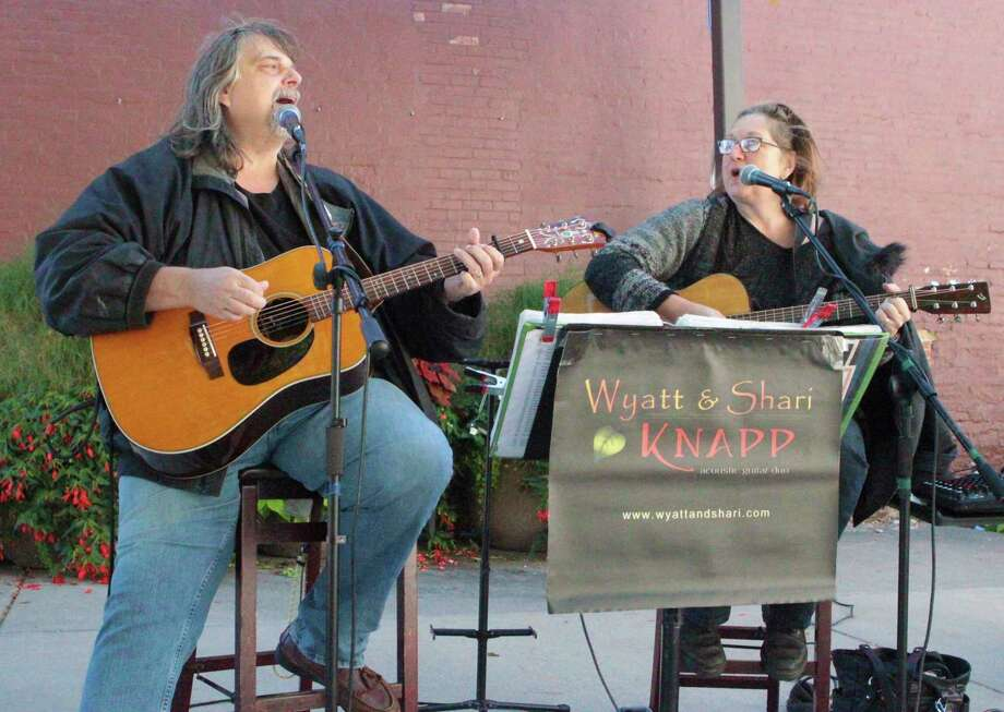 Shari and Wyatt Knapp performed a variety of Americana music during the final concert of the 2020 Pocket Park Music Series on Friday. (Pioneer photo/Taylor Fussman)