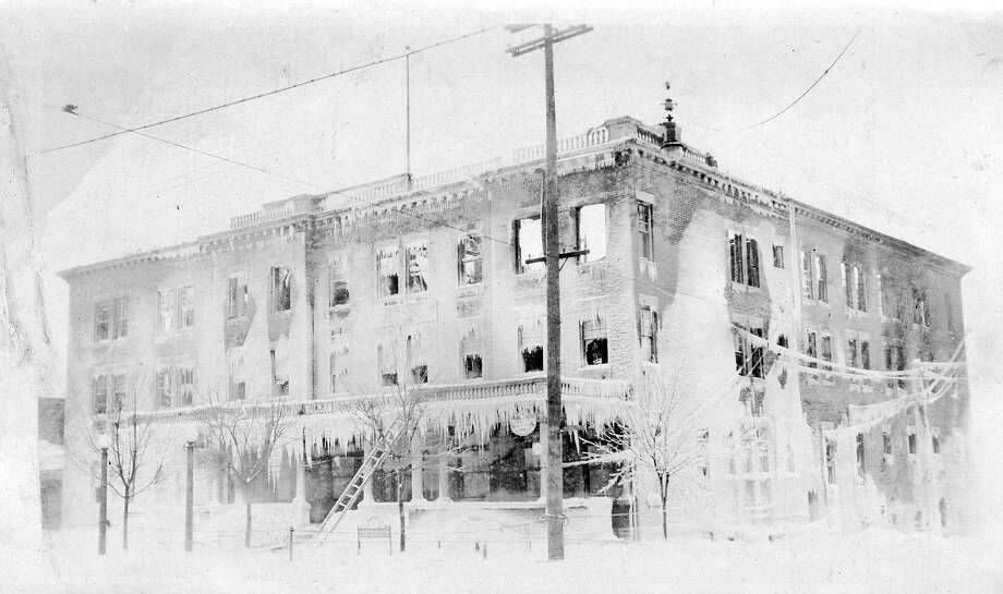 The original Briny Inn, formerly located on the same property as today's Briny Building, was destroyed by fire in Feb. 1917. (Manistee County Historical Museum photo)