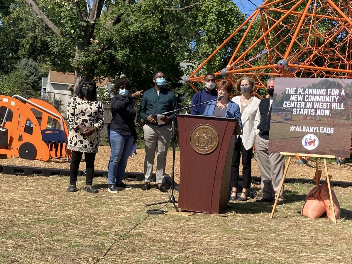 Mayor Kathy Sheehan, city officials and other elected representatives announced the city was looking to build a community center in West Hill.