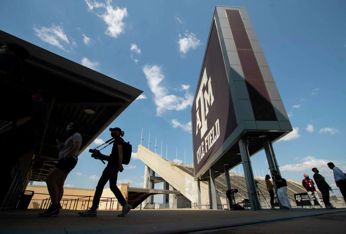 People take a tour of Kyle Field showing what adaptations and precautions are being taken for fans, Friday, Sept. 18, 2020, in College Station. The stadium will be at 25% capacity for the Aggies' game against Vanderbilt Sept. 26.