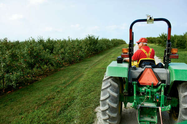 In this file photo, an employee drives a tractor for customers on their way to pick peaches at Eckert's Country Store and Farms in Belleville. State officials are reminding people that National Farm Safety and Health Week is Sept. 20-26.