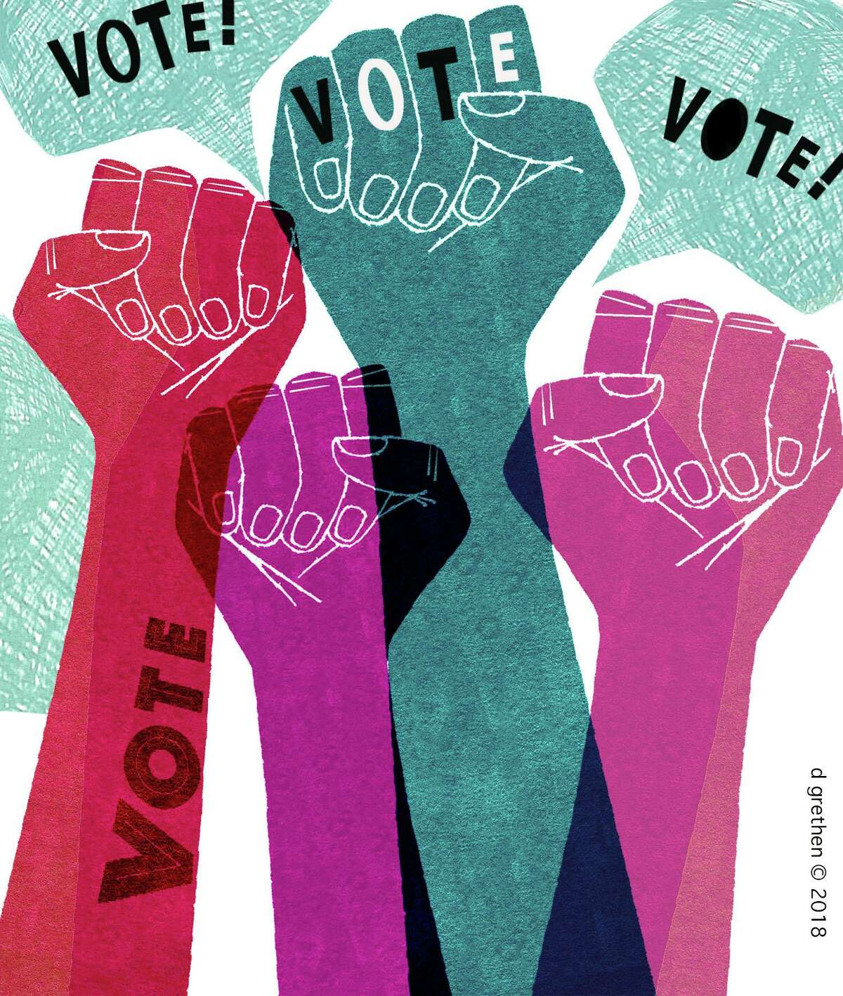 This artwork by Donna Grethen refers to the firing up the womens vote, following the confirmation of Brett Kavanaugh to the Supreme Court.