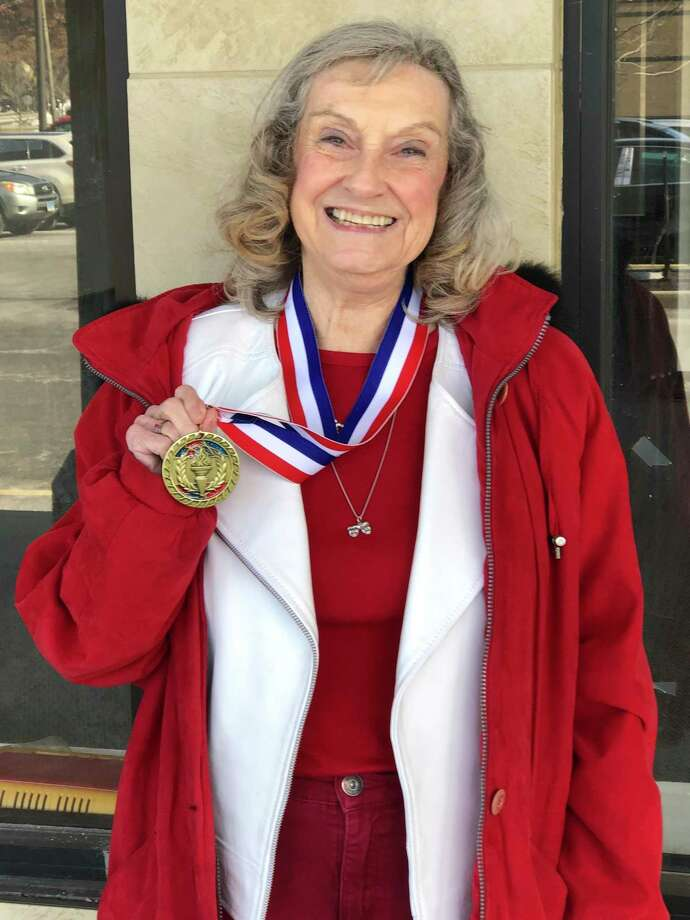 Martha (Marty) Bishop, a local storyteller, won the Toastmasters District 53 Tall Tale Contest in March 2019. Photo: Contributed / The Barnum Square Toastmasters Club