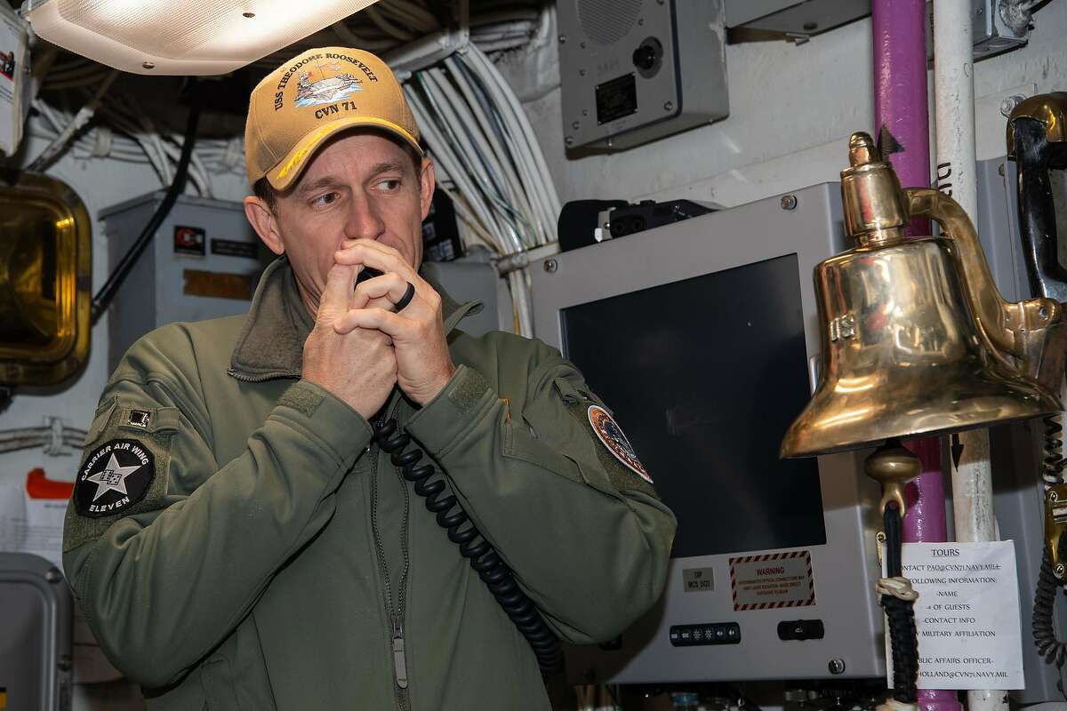 200117-N-KB450-1010 San Diego (Jan. 17, 2020) Capt. Brett Crozier, commanding officer of the aircraft carrier USS Theodore Roosevelt (CVN 71), addresses the crew Jan. 17, 2020. The Theodore Roosevelt Carrier Strike Group is on a scheduled deployment to the Indo-Pacific. (U.S. Navy photo by Mass Communication Specialist Seaman Alexander Williams)