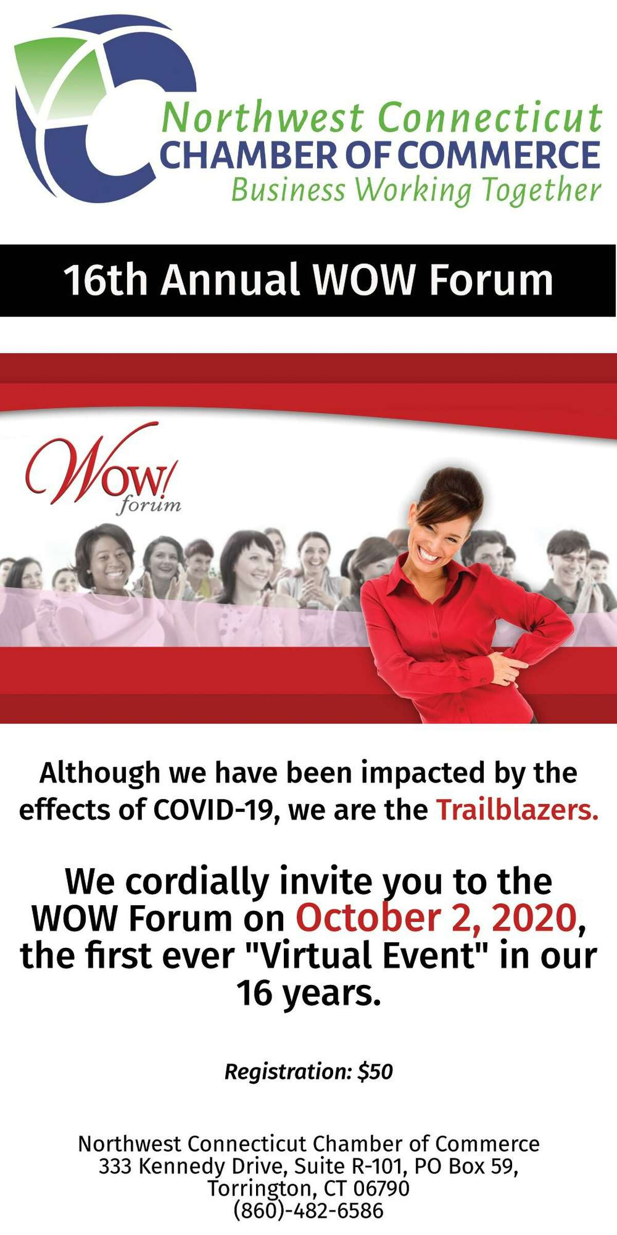 Registration is now open for the Chamber's annual WOW! Forum, set for Oct. 2 in a virtual format.