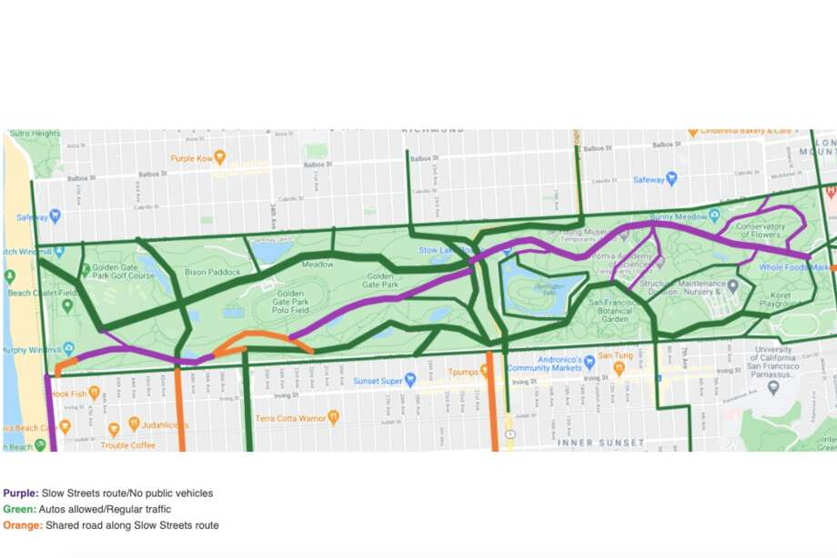 A map showing the Golden Gate Park Slow Streets. Photo: San Francisco Recreation & Parks