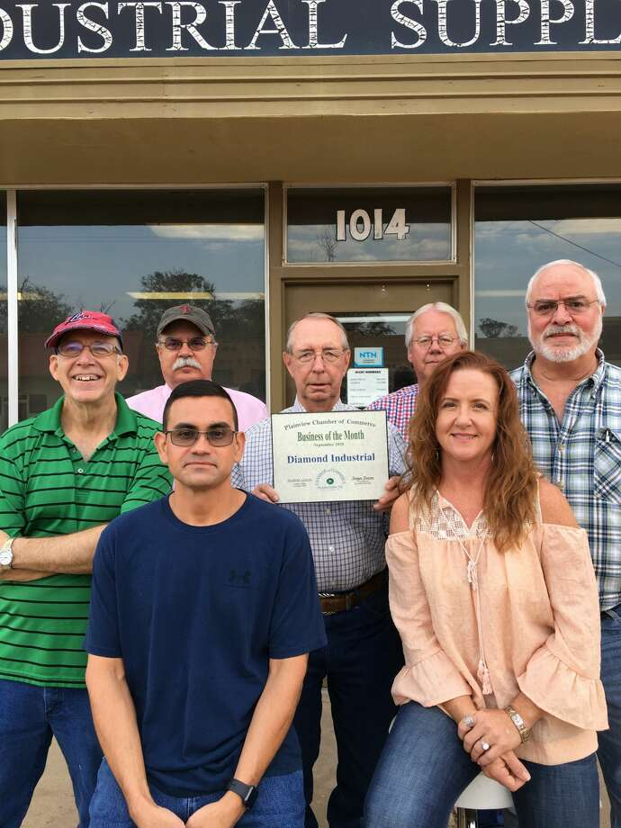 Diamond Industrial was named the September 2020 Business of the Month by the Plainview Chamber of Commerce. The business is owned by John Speck. It's a local business founded in 1955 that sells bearings, belts, chains, motors, hydraulic hoses, and other mechanical components. Pictured: John Speck and his staff. Photo: Provided By The Chamber Of Commerce