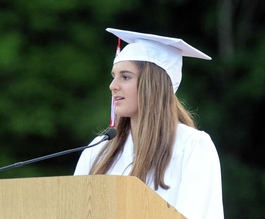 Valedictorian Emily Berzolla speaks during her Greenwich High School commencement ceremony at the school in Greenwich in 2016. Berzolla, a recent MIT graduate, is one of 30 candidates up for the NCAA Woman of the Year award. Photo: Hearst Connecticut Media / Greenwich Time