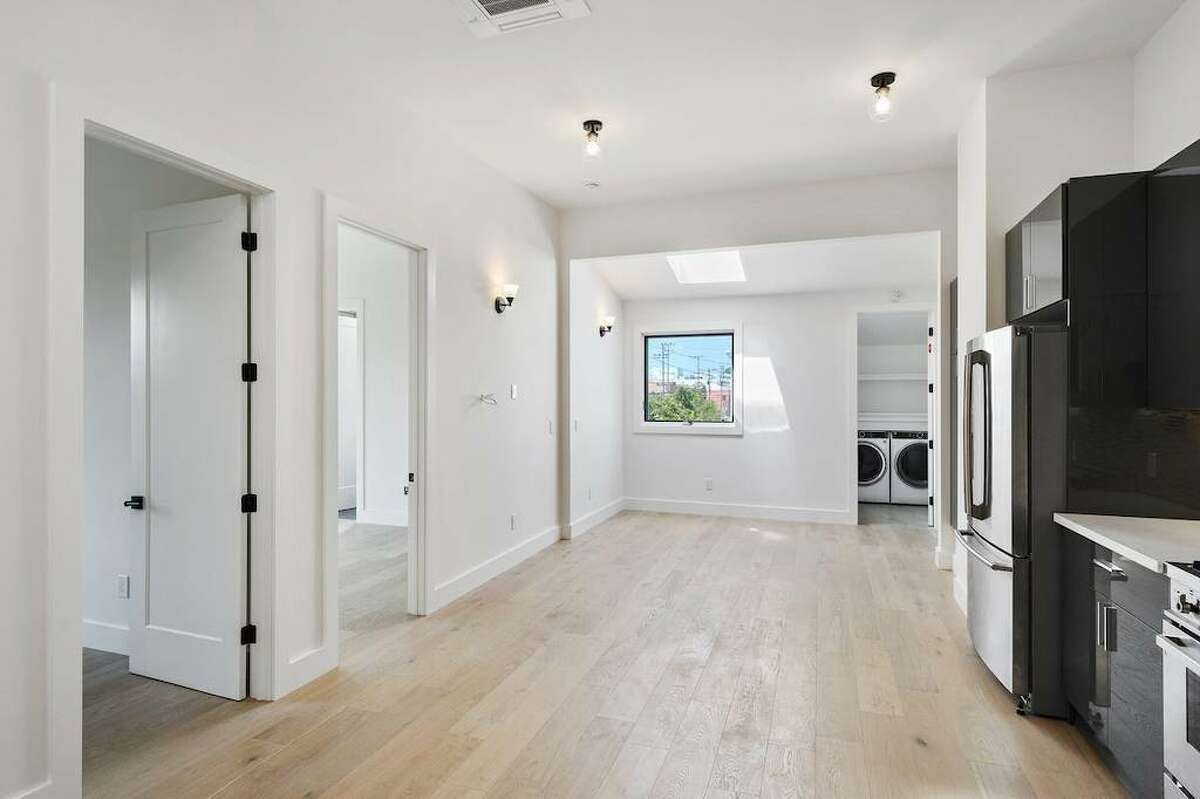 It's outfitted with keyless entry and smart lighting that you can control with your phone, according to the listing.