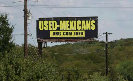 A billboard along IH-35 between New Braunfels and San Marcos, Texas pushes a website, Monday. Sept. 14, 2020.