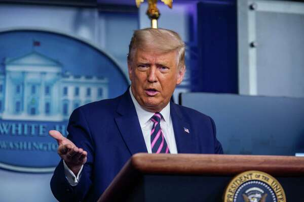 President TDonald rump speaks with reporters at the White House in Washington on Sept. 18, 2020.