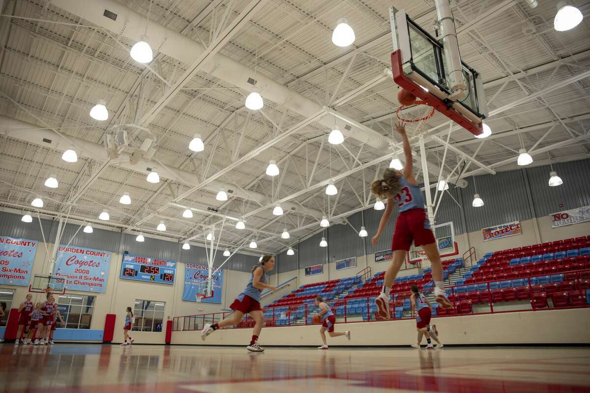 Girls basketball players practice Wednesday, Sept. 16, 2020 at Borden County School in Gail, Texas. Principal Britt Gordon said the school is a basketball and football centered. Jacy Lewis/Reporter-Telegram