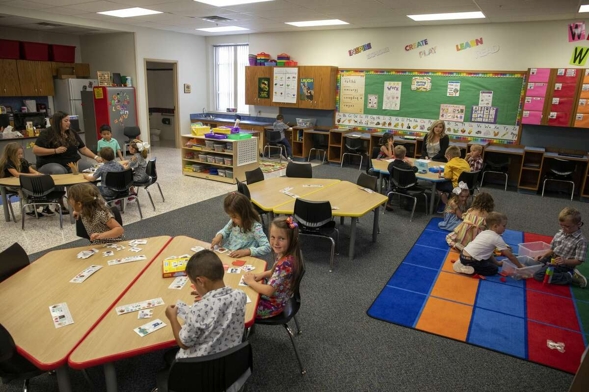 Kindergarteners do school work and play in stations on Wednesday, Sept. 16, 2020 at Borden County School in Gail, Texas. Jacy Lewis/Reporter-Telegram