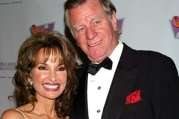 """Susan Lucci and husband Helmut Huber attend a star-studded concert staging of the classical musical """"Guys and Dolls"""" at the Sheraton Hotel in New York on Feb. 23, 2004."""
