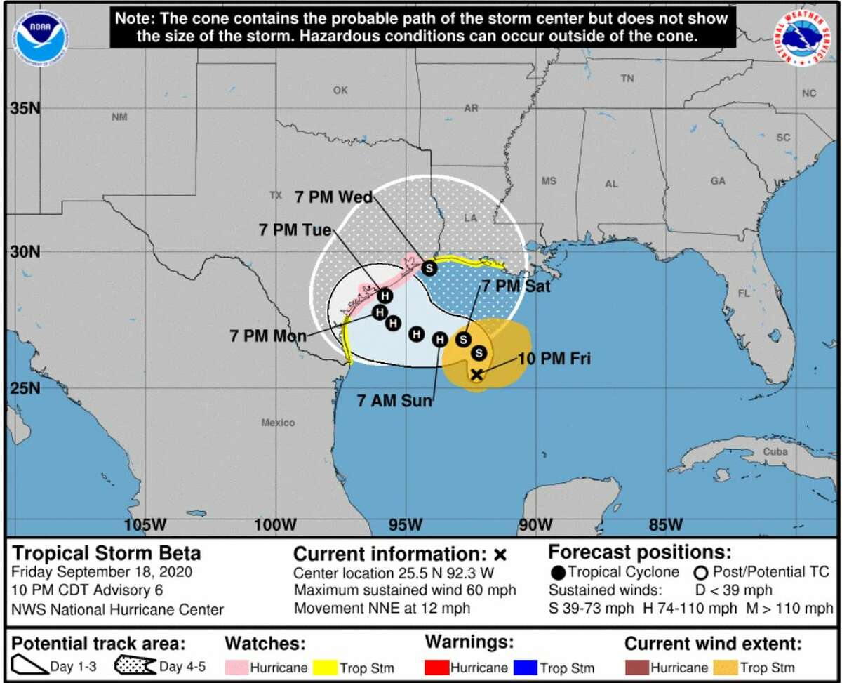 Forecast cone for Tropical Storm Beta at 10 p.m. Friday.