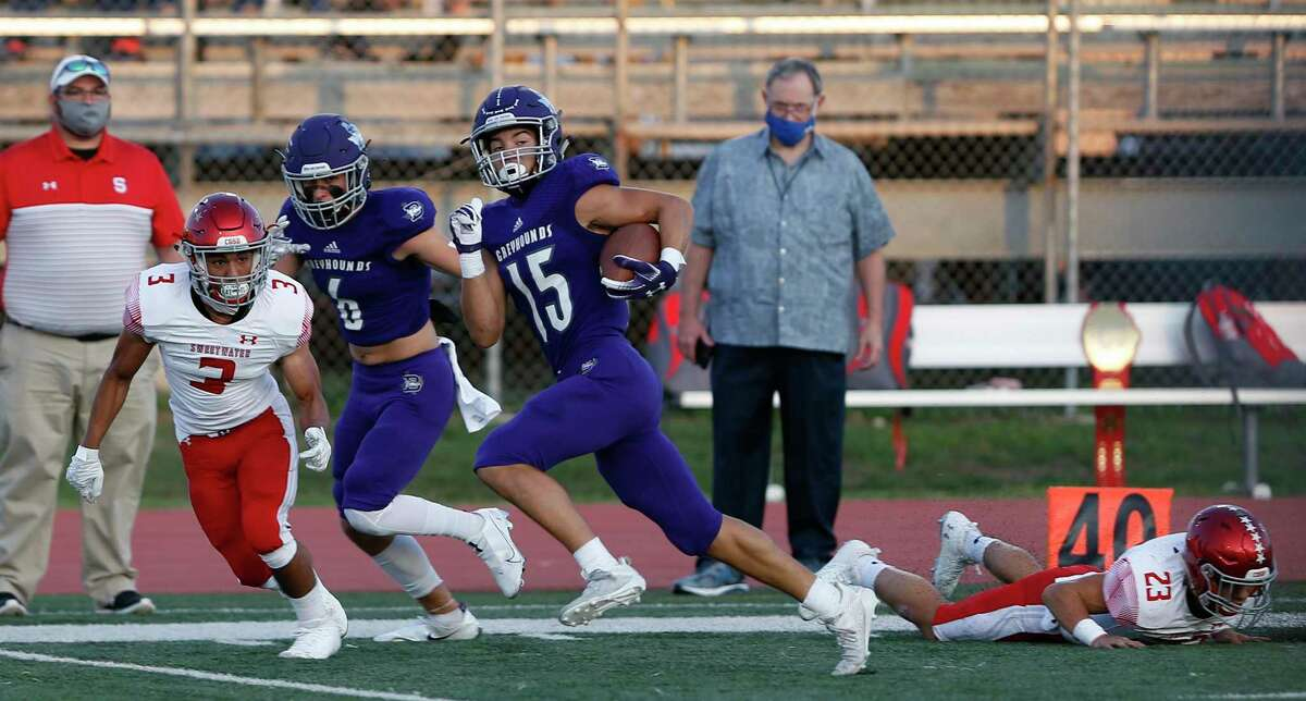 Wide receiver Riley Pechacek outruns the Sweetwater secondary on Boerne's first play from scrimmage for a 63-yard catch-and-run touchdown.