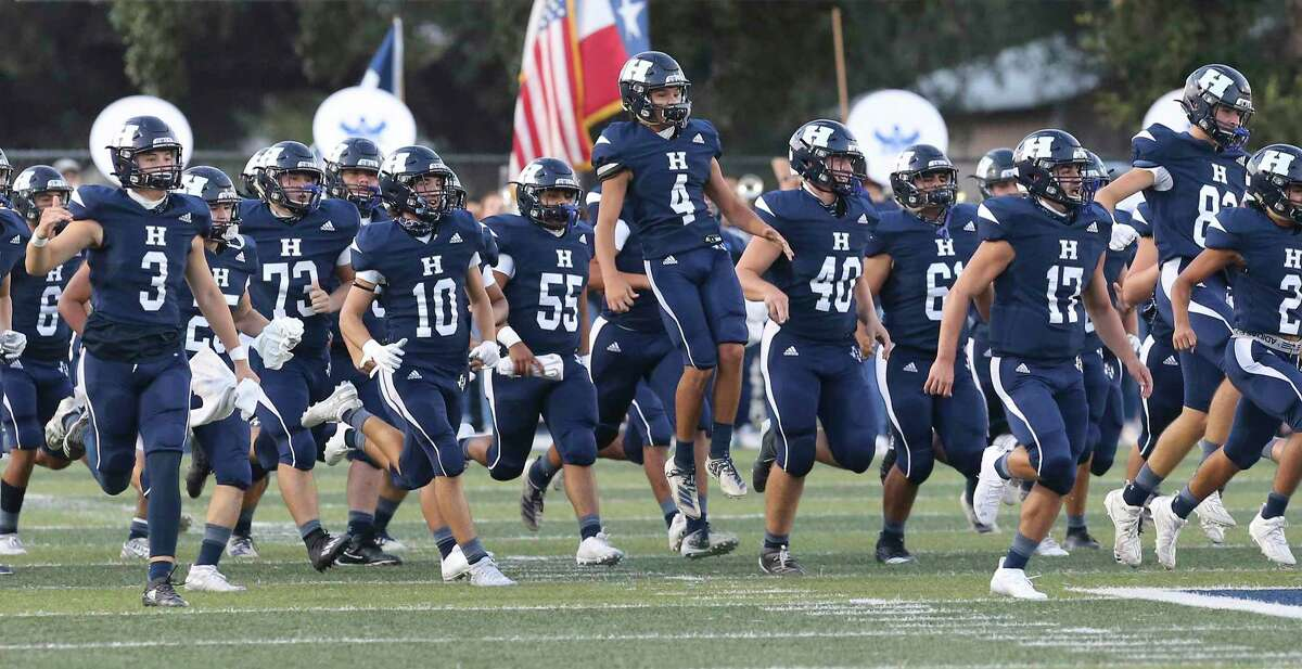 The Hondo Owls take the field against Marion during their high school football game in Hondo, Texas on Friday, Sept. 18, 2020.