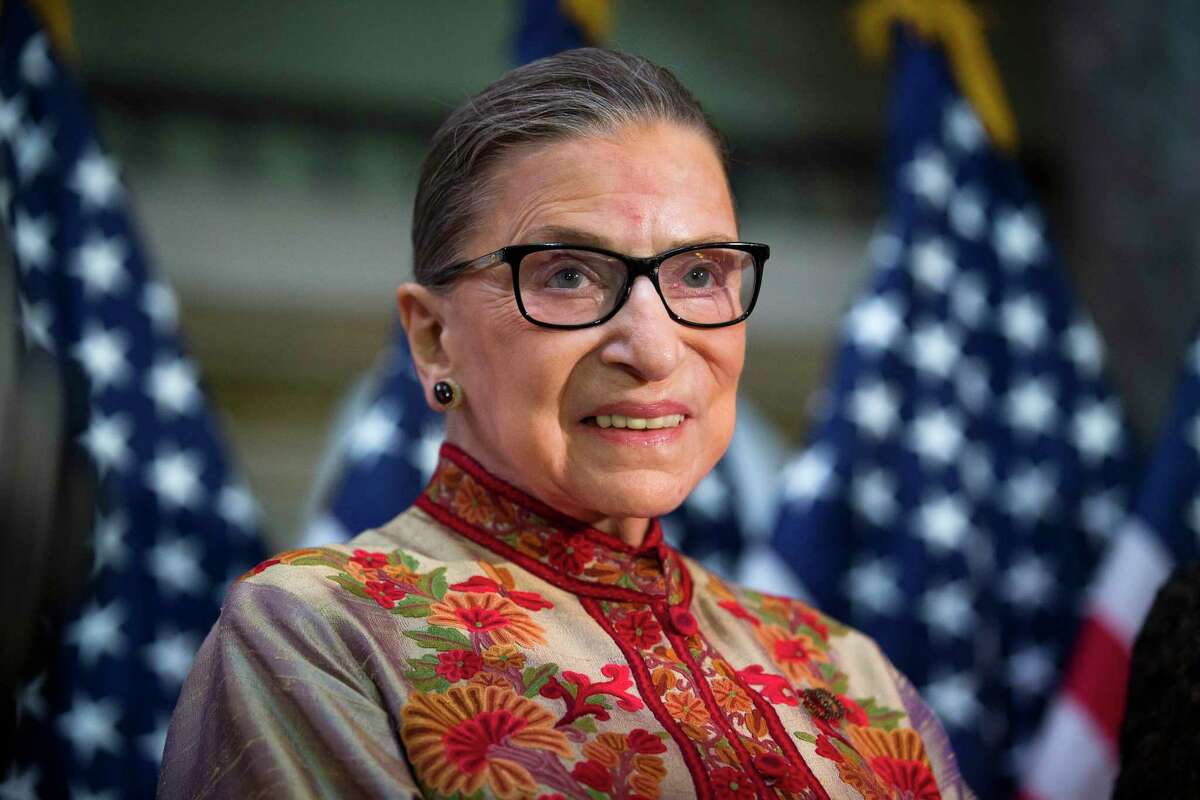 """FILE a€?"""" Justice Ruth Bader Ginsburg at a Womena€™s History Month event on Capitol Hill in Washington, March 18, 2015. a€œOur nation has lost a jurist of historic stature,a€ said Chief Justice John Roberts, on news of Ginsburg's death. (Doug Mills/The New York Times)"""