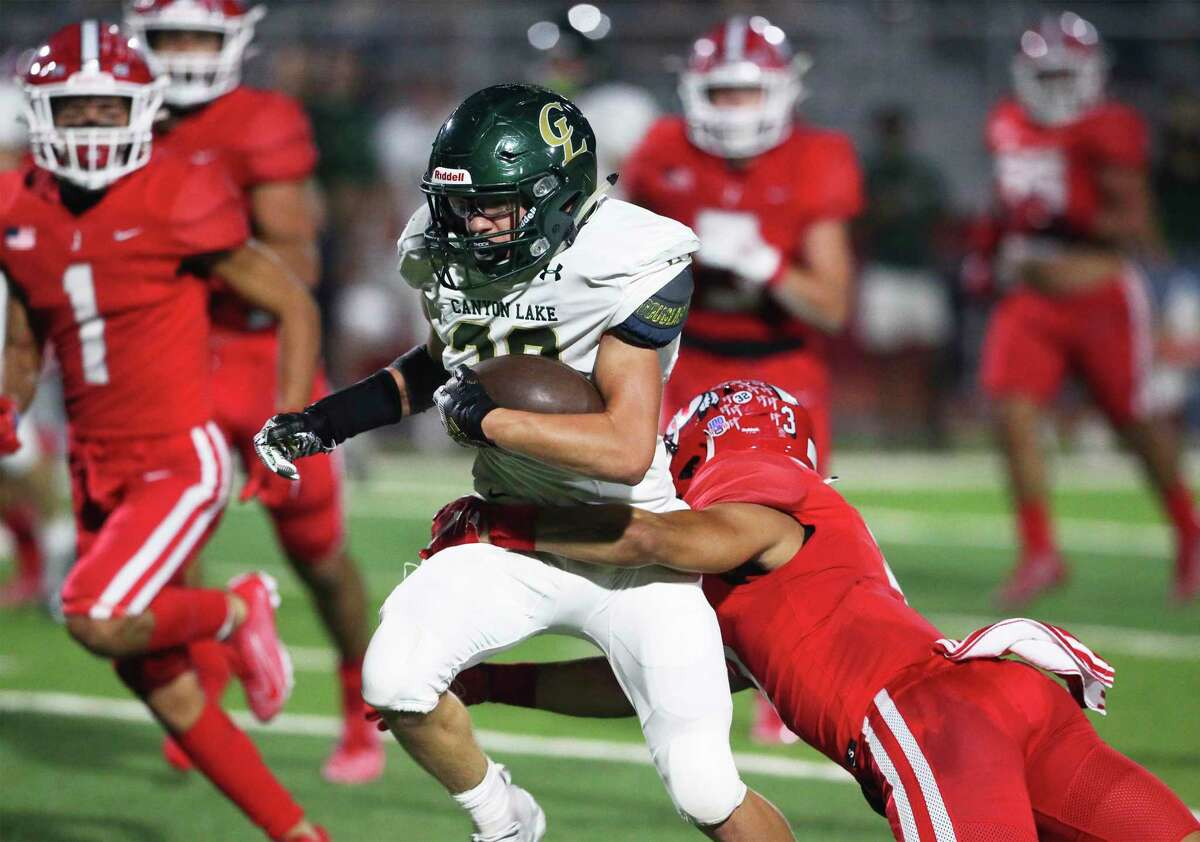 Hawk tailback Shayne Moss gets free on his left side for some running out in front of the defnese as Jourdanton hosts Canyon Lake in high school football at Indian Stadium on Sept. 18, 2020.