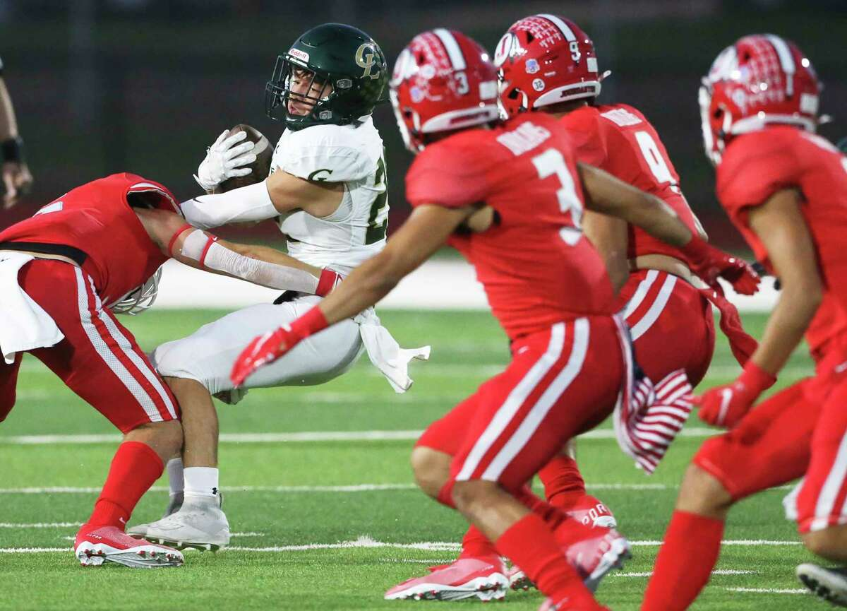Hawk tailback Ryan Rivali is run down by the Indain defense in the first half as Jourdanton hosts Canyon Lake in high school football at Indian Stadium on Sept. 18, 2020.