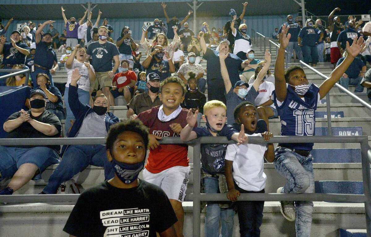 West Orange - Stark's fans explode as they score against Newton during their match-up Friday night in West Orange. Photo taken Friday, September 18, 2020 Kim Brent/The Enterprise