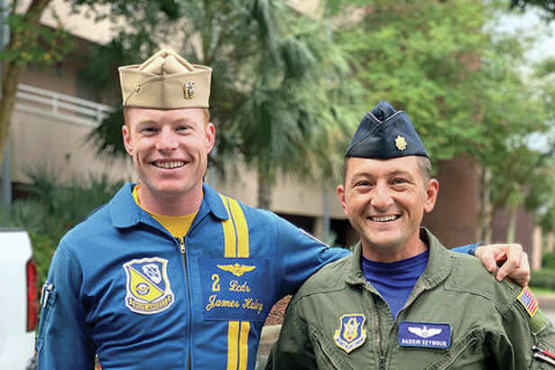 Jacksonville native Darrin Seymour recently flew with the U.S. Navy Blue Angels flight demonstration squadron. Seymour, a major in the Air Force Reserve, currently flies state officials and COVID-19 teams; he is based out of Scott Air Force Base near Belleville.