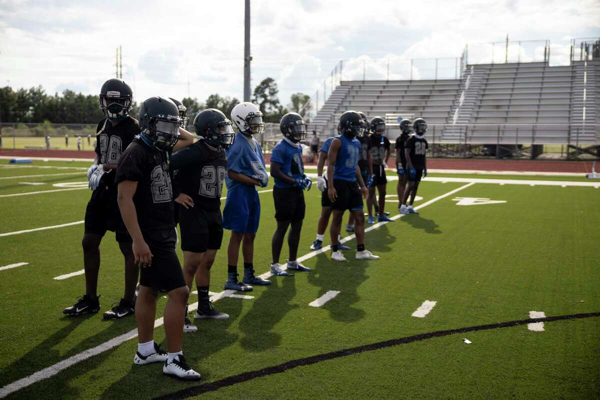 Dekaney football players lineup during football practice held at Dekaney High School in Houston, Thursday, Sept. 17, 2020.