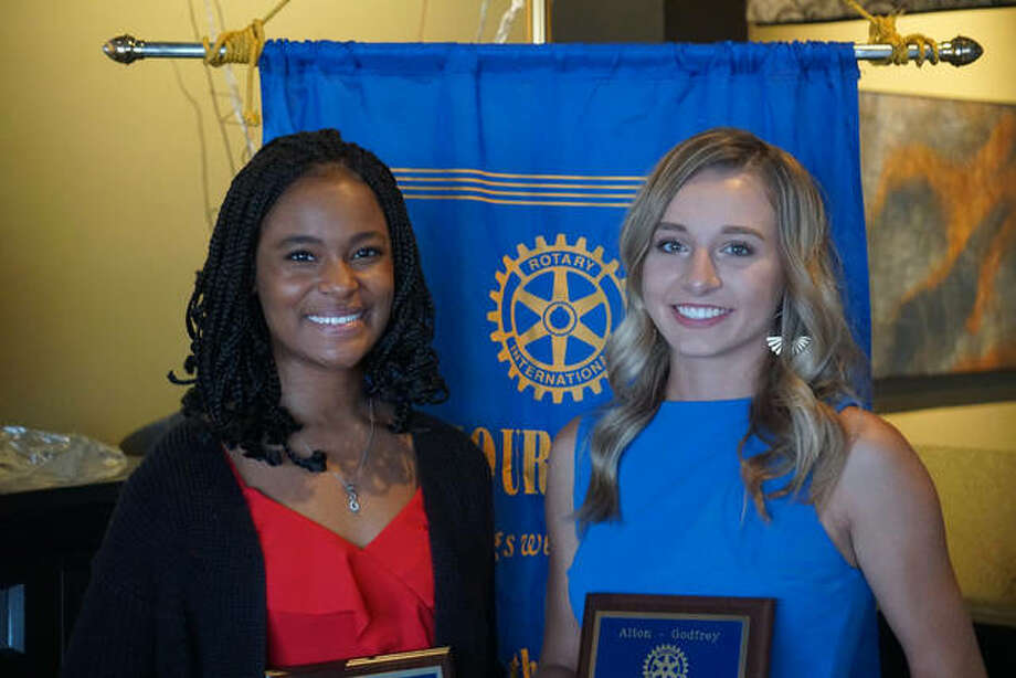 Ty'Ria Rounds, left, and Ainsley Fortschneider, both students at Alton High School, have been named the Students of the Month for September by the Alton-Godfrey Rotary Club.