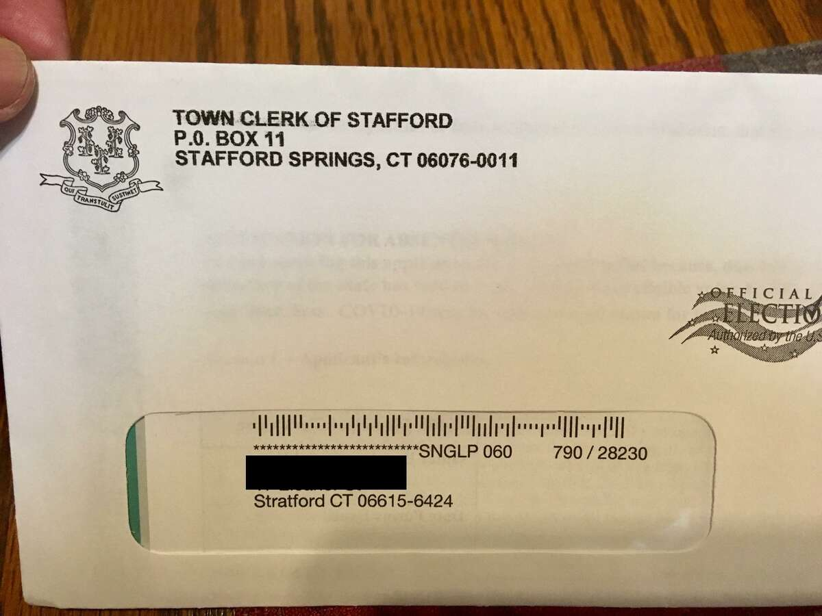 An absentee ballot application sent to a Stratford voter in an envelope with an incorrect return address listing Stafford Springs.