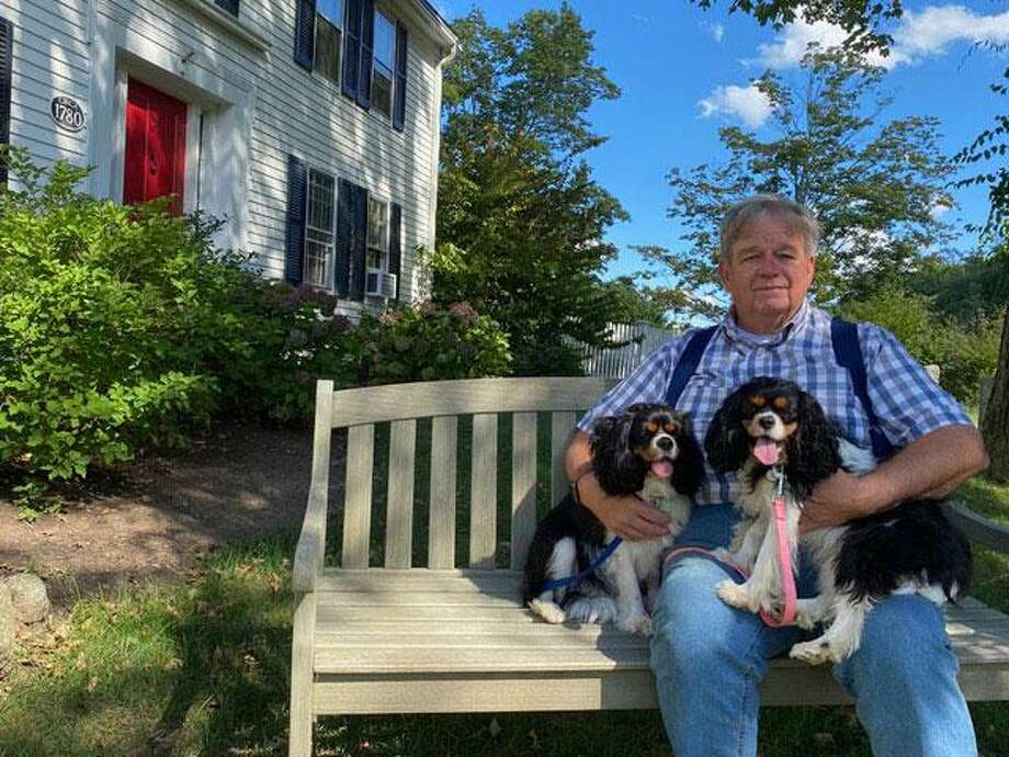 """Connecticut's state historian Walter Woodward, shown with his dogs Jasper and Callie, is giving a virtual talk about his new book, """"Creating Connecticut: Critical Moments That Shaped a Great State,"""" on Thursday, Sept. 24 from 12:30 to 1:30 p.m. The talk is being held on Zoom and requires registration through the Wilton Historical Society. Photo: Photo Submitted By Walter Woodward"""